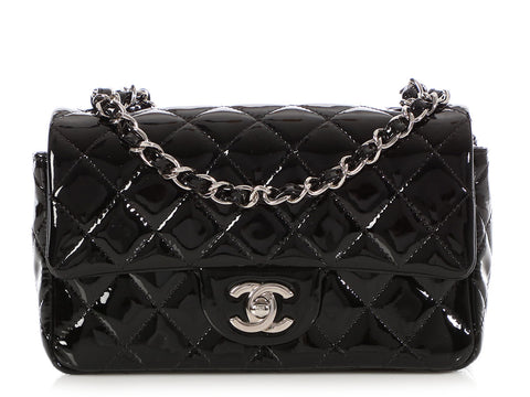 c382c087c9d7 Chanel Black Quilted Patent Mini Classic