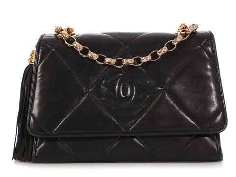 Chanel Small Vintage Black Quilted Lambskin Flap