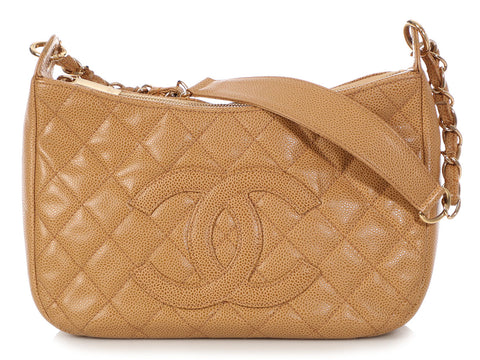 Chanel Small Tan Part Quilted Caviar Shoulder Bag