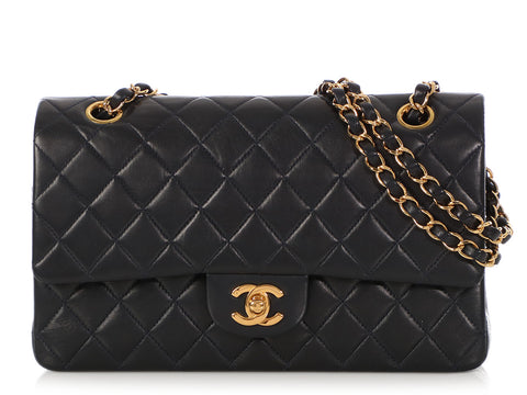 Chanel Medium/Large Vintage Navy Quilted Lambskin Classic Double Flap