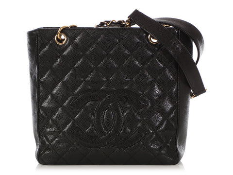 Chanel Black Part Quilted Caviar Petite Shopping Tote PST
