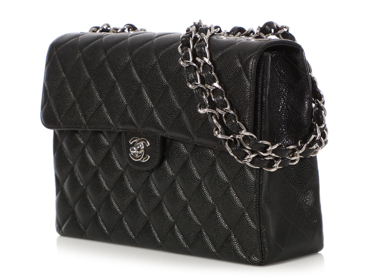 dc4572b343f7 Chanel Jumbo Vintage Black Quilted Caviar Classic Single Flap. Images   1    2   3   4 ...