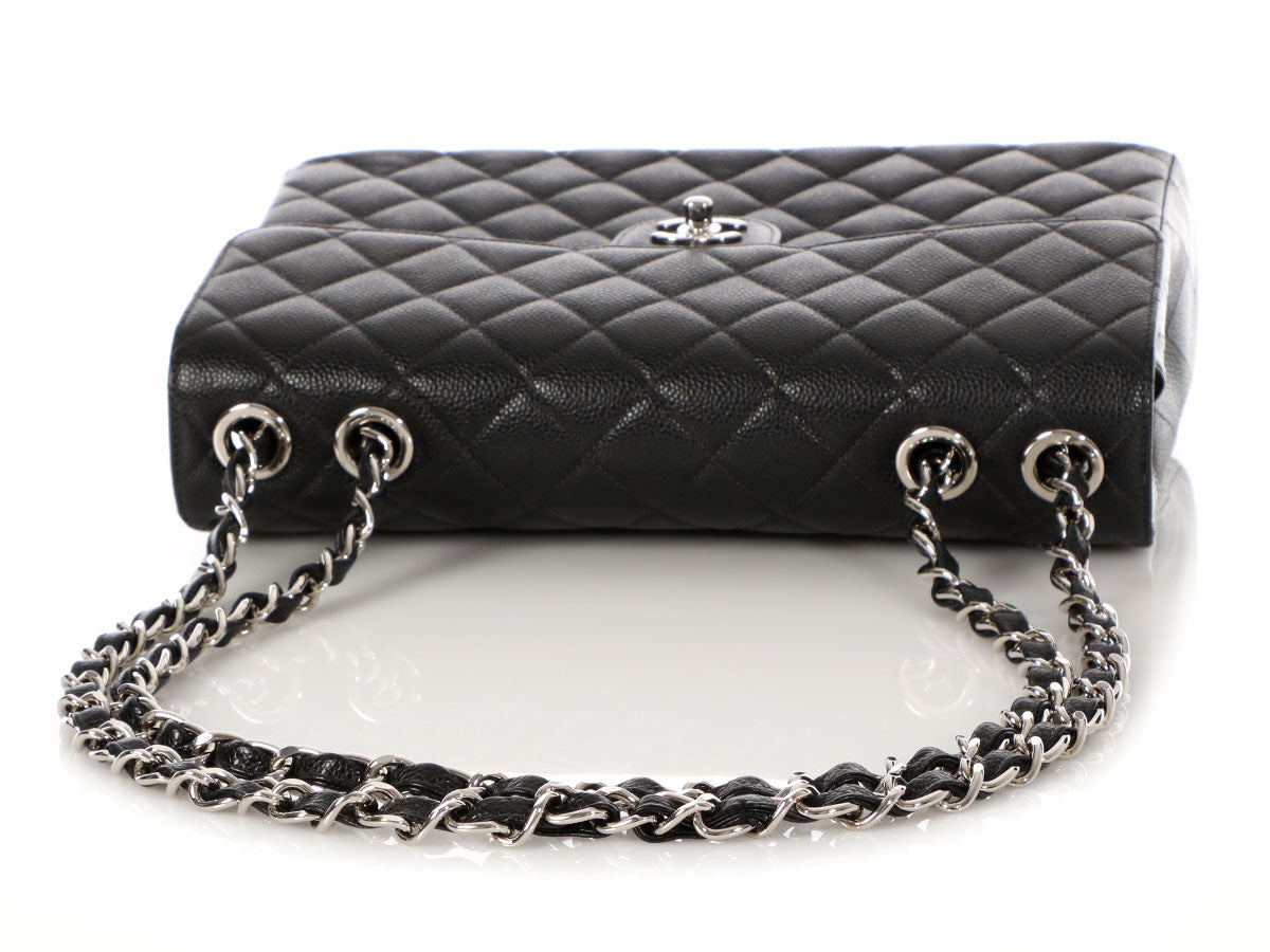 86d01d109366 Chanel Jumbo Vintage Black Quilted Caviar Classic Single Flap