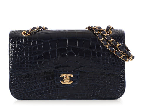 Chanel Medium/Large Navy Shiny Alligator Classic Double Flap