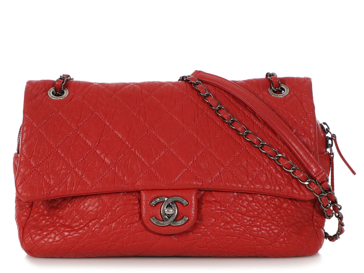 20921827b07c Chanel Jumbo Red Distressed Quilted Calfskin Easy Flap