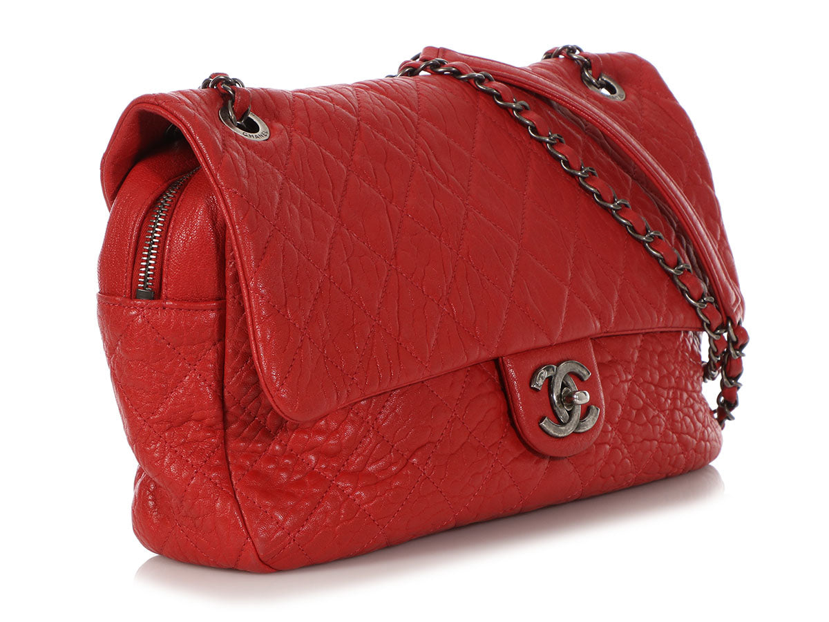 a2e984f0bafa Chanel Jumbo Red Distressed Quilted Calfskin Easy Flap