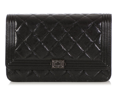 Chanel So Black Quilted Distressed Patent Boy Wallet on a Chain WOC