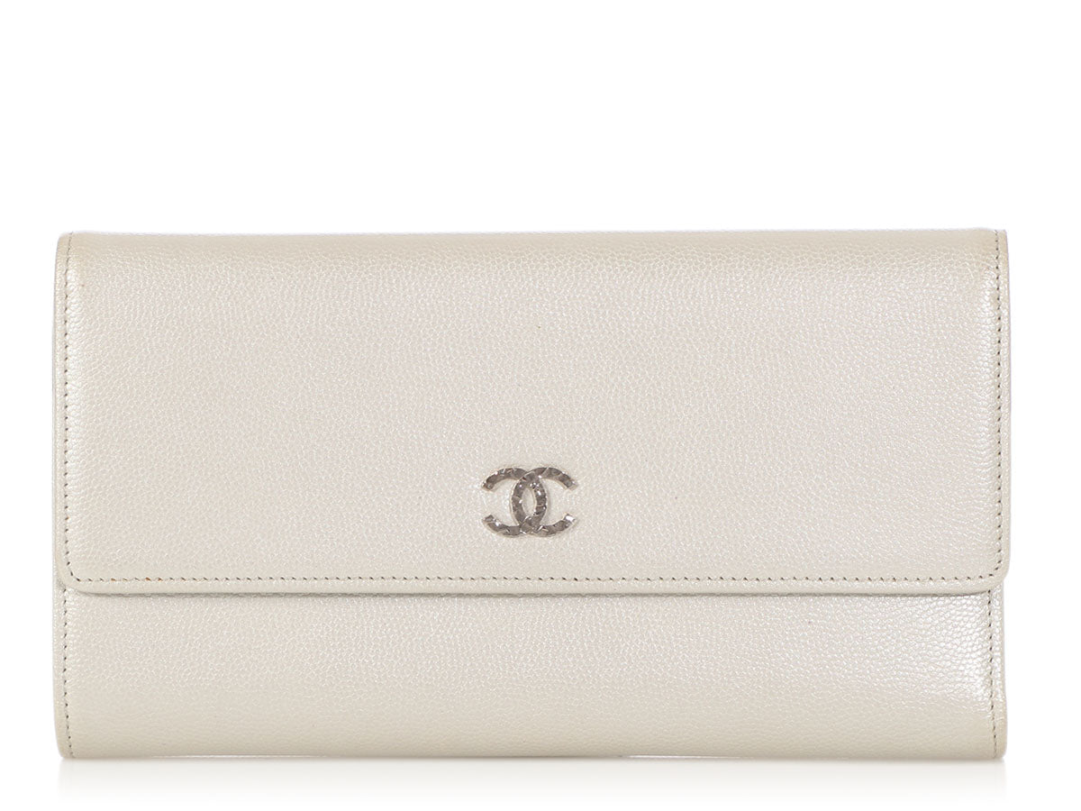 Chanel Large Silver Caviar Wallet