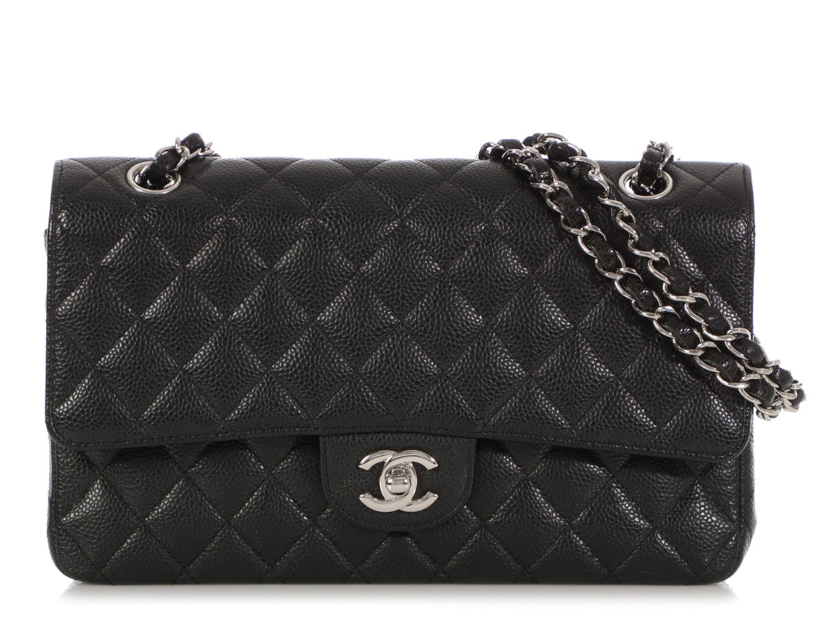 460906e5784a Chanel Medium Large Black Quilted Caviar Classic Double Flap