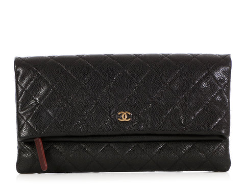 Chanel Black Quilted Soft Caviar Foldover Clutch