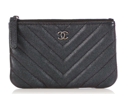 Chanel Small Black Chevron Quilted Iridescent Caviar O Pouch