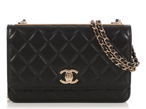 Chanel Black Quilted Lambskin Trendy CC Wallet on a Chain WOC