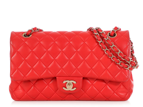 Chanel Medium/Large Red Quilted Lambskin Classic Double Flap