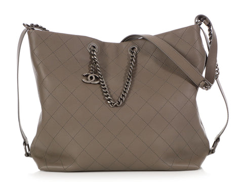 Chanel Dark Gray Quilted Calfskin Hobo