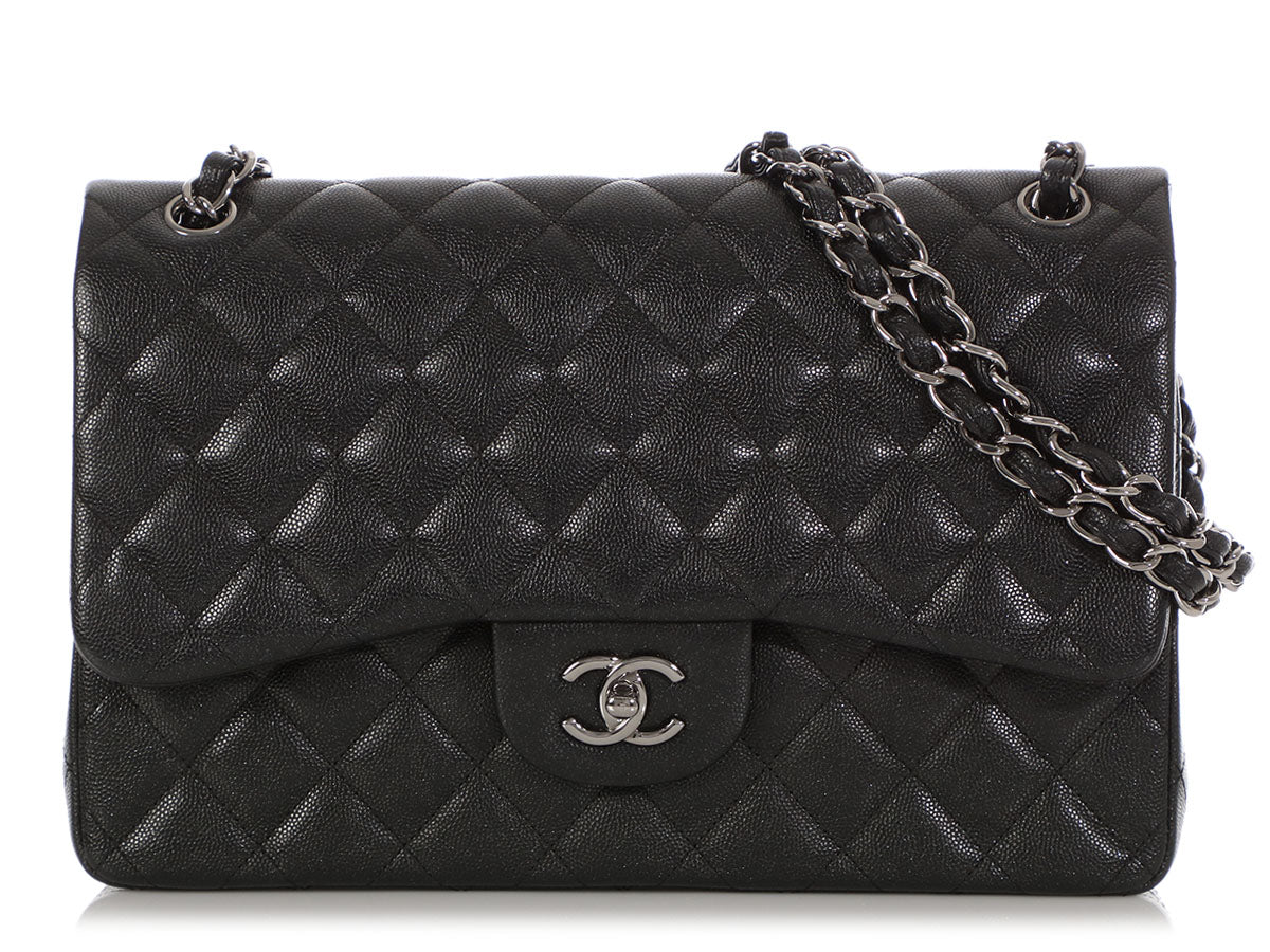 b48cdc830891 Chanel Jumbo Black Iridescent Quilted Caviar Classic Double Flap