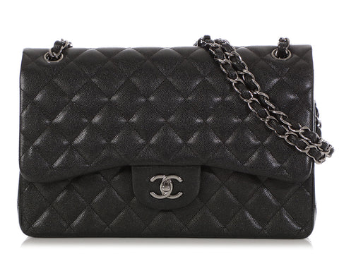 Chanel Jumbo Black Iridescent Quilted Caviar Classic Double Flap