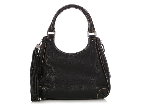 Chanel Black Pebbled Calfskin LAX Hobo