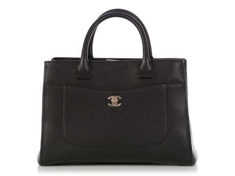 Chanel Black Textured Calfskin Tote