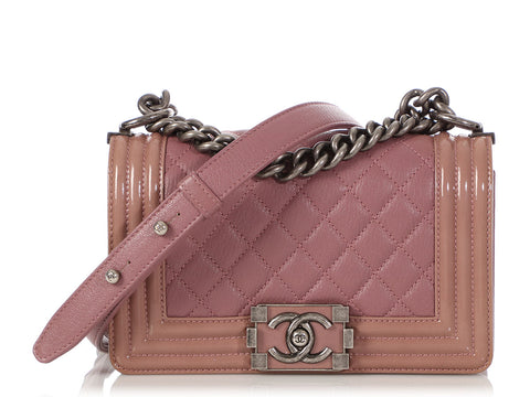 cdcc9c63df3a38 Chanel Small Pink Patent and Calfskin Duo Boy Bag