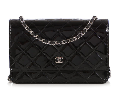 Chanel Black Patent Wallet on a Chain WOC