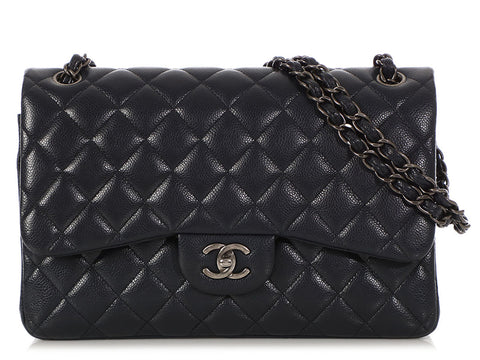 Chanel Jumbo Navy Quilted Caviar Classic Double Flap