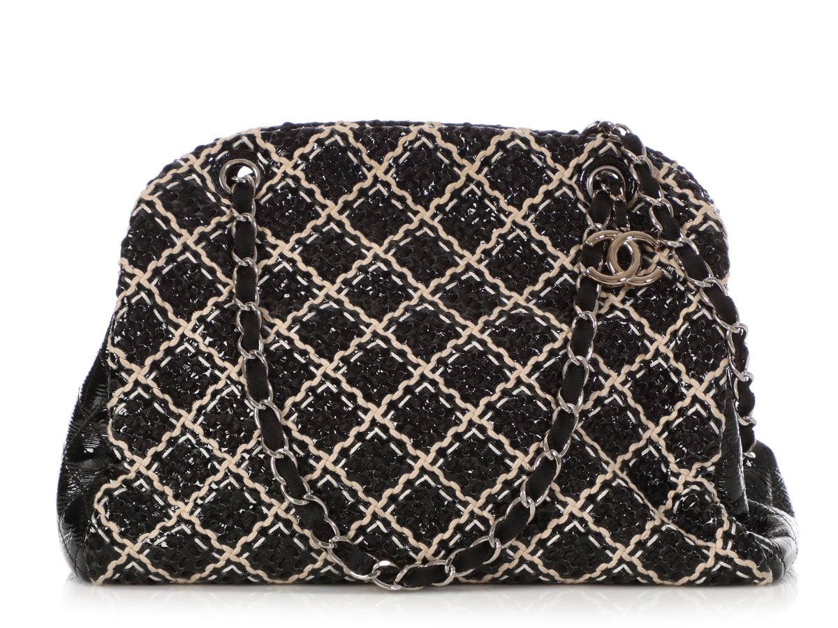 bf8331e112aee6 Chanel Just Mademoiselle Tweed and Patent On Stitch Bowler