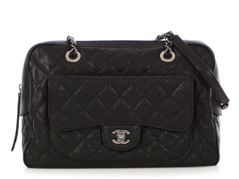 Chanel Black Quilted Caviar Paradoxal Camera Bag