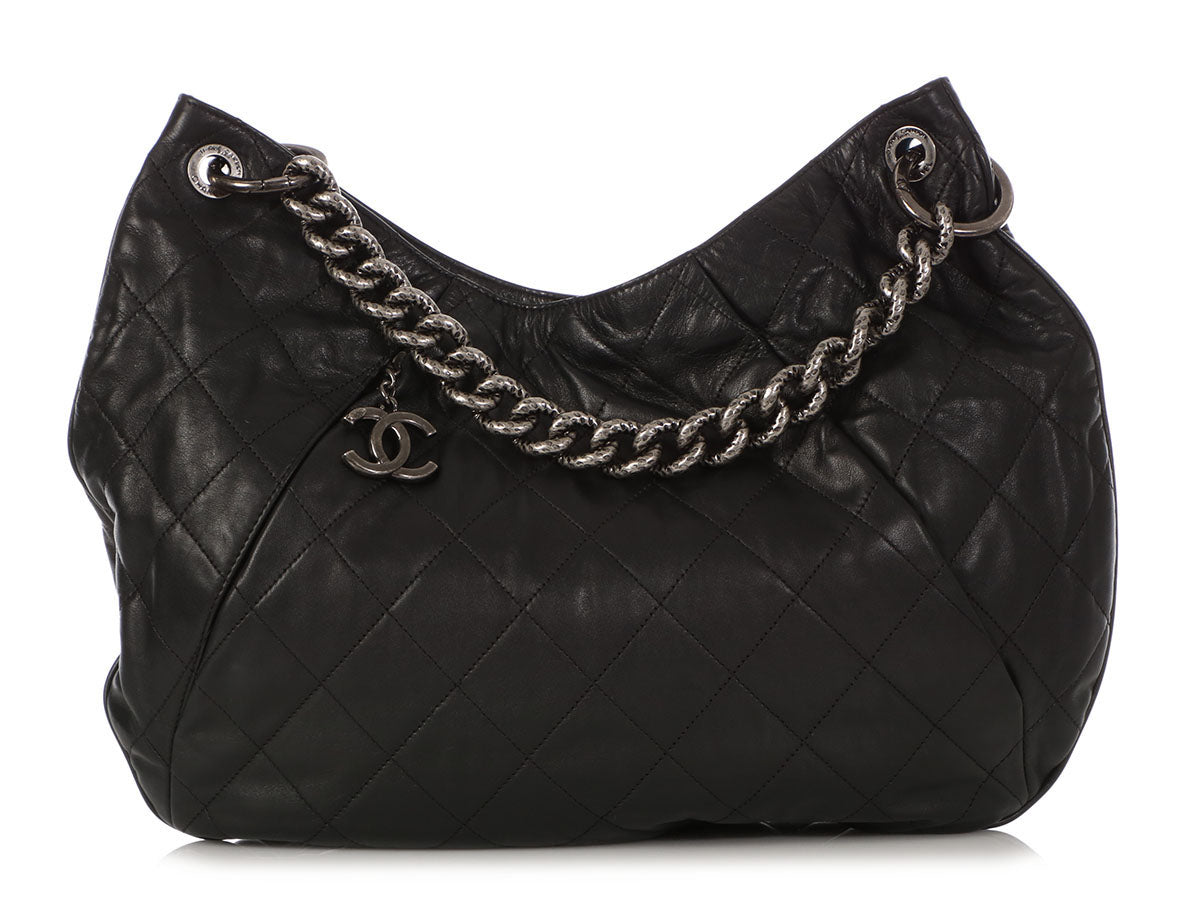 Chanel Large Black Quilted Calfskin Coco Pleats Hobo