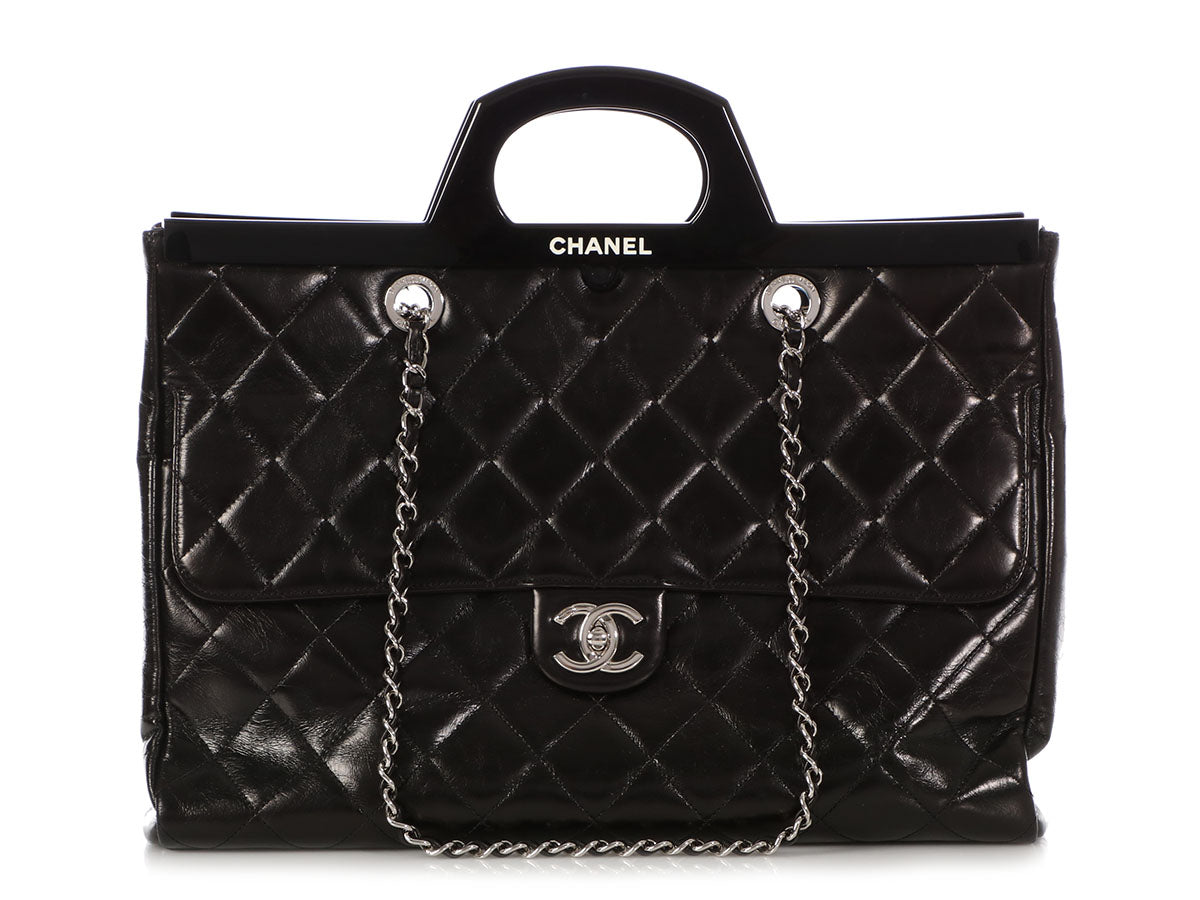 bf5762753a44 Chanel Large Black Quilted Calfskin Framed Bag