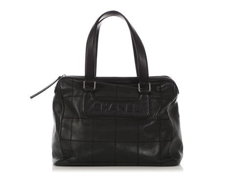 Chanel Black Chocolate Bar Quilted Caviar Bag