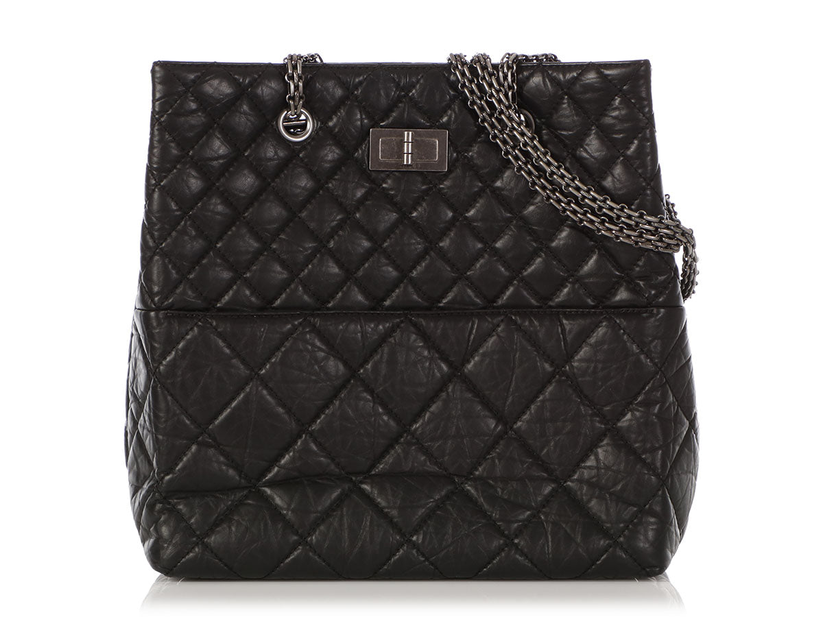 45e3682dd07a Chanel Black Quilted Distressed Aged Calfskin Reissue Tote