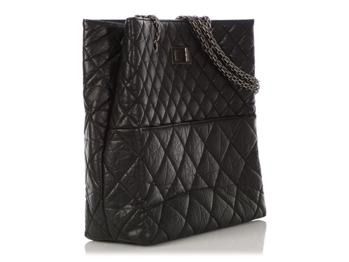 247bd91288f1ce Chanel Black Quilted Distressed Aged Calfskin Reissue Tote. Images / 1 / 2  / 3 / 4 / 5 / 6 ...