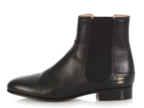 Chanel Black Calfskin Chelsea Boots