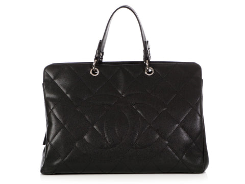 Chanel Extra Large Black Quilted Caviar Timeless Tote
