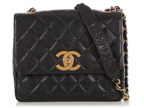 820fe41ada0c Chanel Vintage Black Quilted Caviar Flap