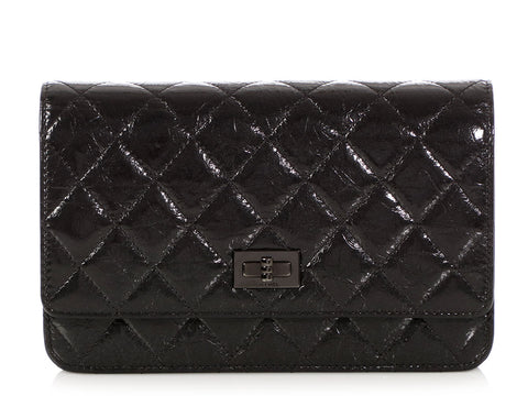 Chanel So Black Quilted Aged Calfskin Reissue Wallet on a Chain WOC