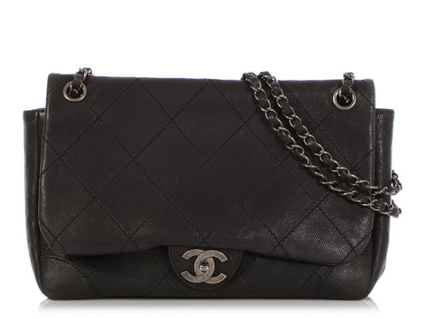 Chanel Black Quilted Caviar Outdoor Ligne Flap