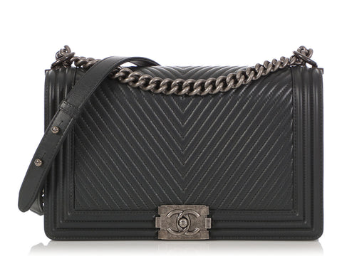 Chanel New Medium Dark Gray Chevron Quilted Calfskin Boy Bag