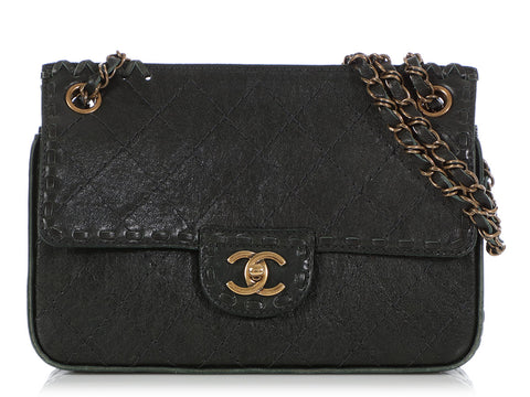 Chanel Dark Green Quilted Distressed Calfskin Flap