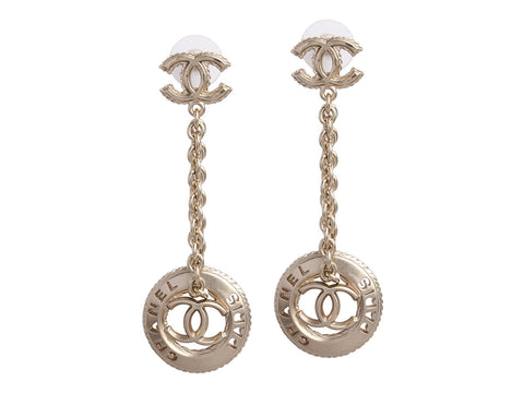 Chanel Gold-Tone Logo Drop Earrings