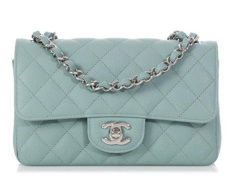 Chanel Mini Light Blue Quilted Caviar Classic