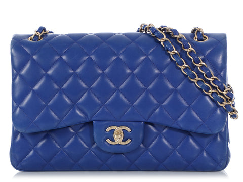 Chanel Jumbo Dark Blue Quilted Lambskin Classic Double Flap