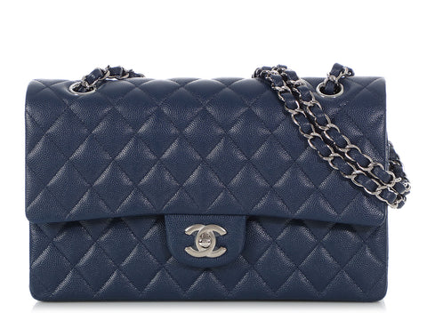 Chanel Medium/Large Navy Quilted Caviar Classic Double Flap