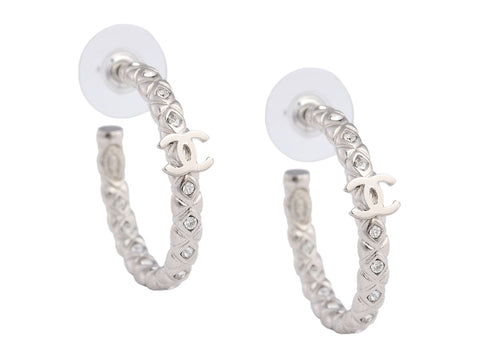 Chanel Silver-Tone Crystal Logo Hoop Earrings