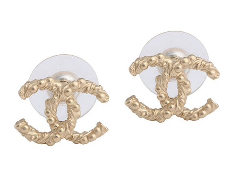 Chanel Gold-Tone Textured Logo Stud Earrings
