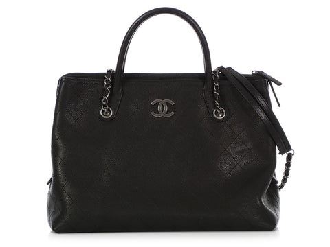 Chanel Black Quilted Calfskin Urban Shopping Tote