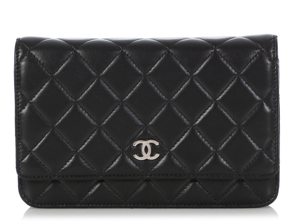 c1984707095 Chanel Black Quilted Lambskin Wallet on a Chain WOC