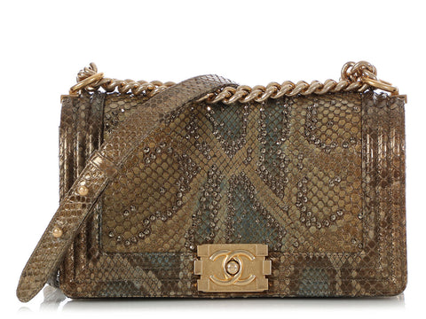 Chanel Old Medium Python Crystal Studded Boy Bag