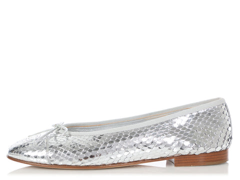 Chanel Silver Python Ballet Flats