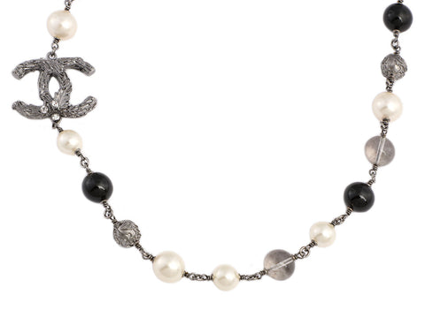Chanel Long Pearl, Bead, and Crystal Logo Necklace